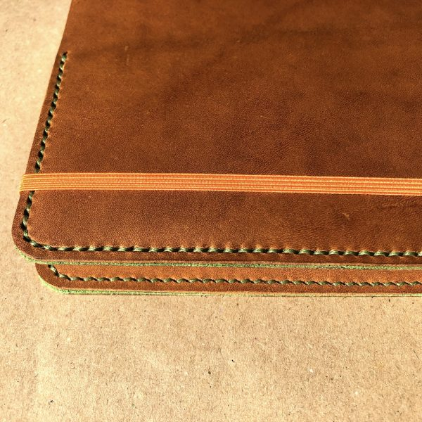 Journal & Hide A5 Journal Cover Light Tan, Pea Green Suede Sandwich, Pea Green Stitching.