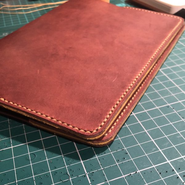 Journal & Hide A5 Journal Cover Medium Tan, Yellow Suede Sandwich, Yellow Stitching.