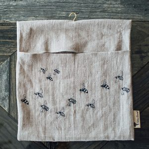 Helen Round Peg Bag in Linen - Honey Bee design