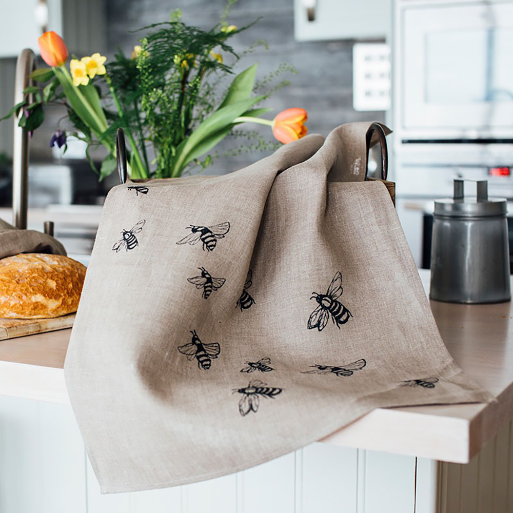 Linen Tea Towel Honey Bee