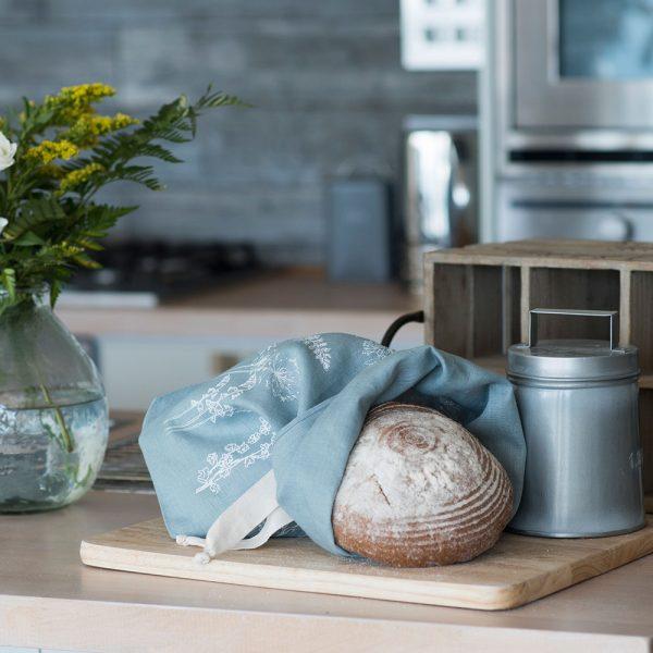 Linen bread bag Duck Egg Blue