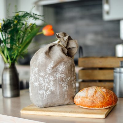 Helen Round natural linen bread bag