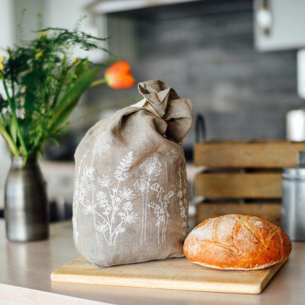 Helen Round natural linen bread bag