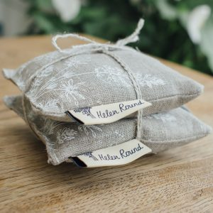 Helen Round natural linen lavender bag - pair