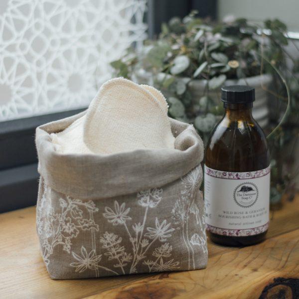 Natural Linen Fabric Storage Pot