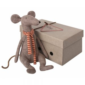 Grey Cool Rat with cute multicoloured scarf