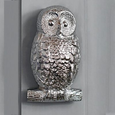 Solid Brass Chrome Owl Door Knocker