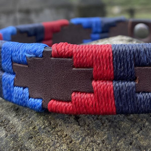 St James Argentinian Pampi Polo Dog Collar in two blues and a red