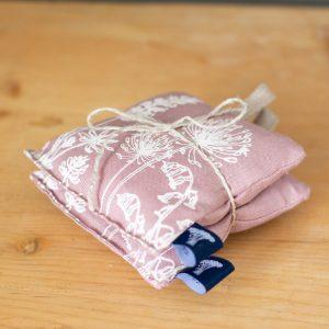Helen Round pink linen lavender bag - pair