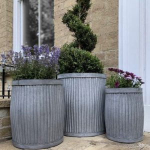 Ribbed Planters Dolly Tubs