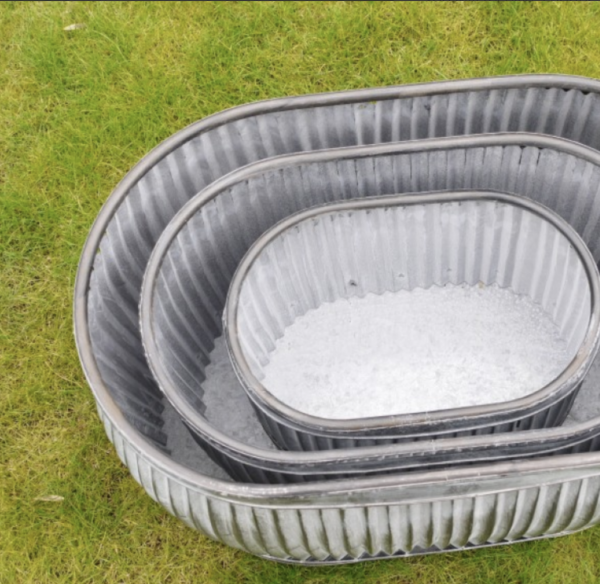 Vintage style galvanised Oval Dolly Tubs