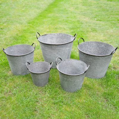 Set of 5 Galvanised Buckets