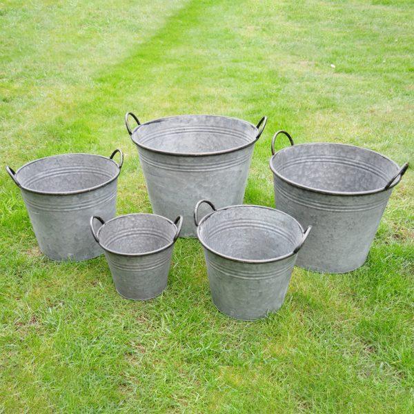 Set of 5 Galvanised Buckets