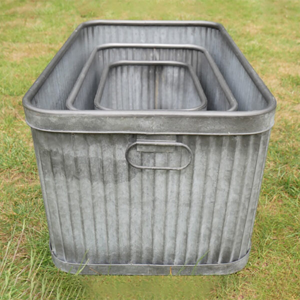 Fey Hortus Vintage style Galvanised Rectangular Dolly Tubs